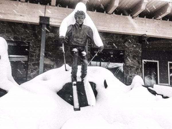 Statue of skier in snow storm